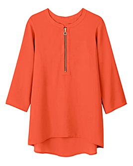 Red Ring Pull Zip Blouse