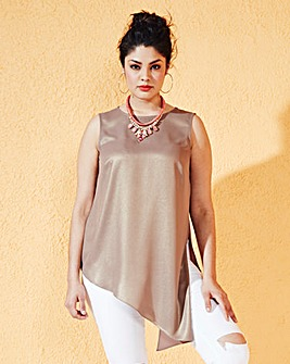 Asymmetric Sleeveless Sparkle Top