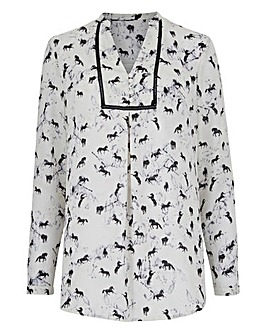 Mono Print Placket Front Tunic