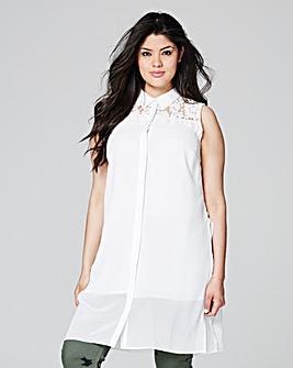 Longline Lace Insert Sleeveless Shirt