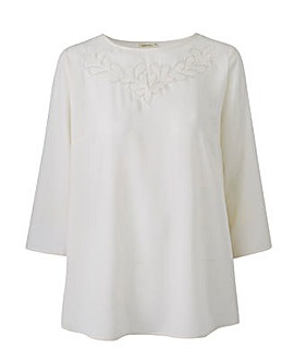 Ivory Floral Cut Out Top