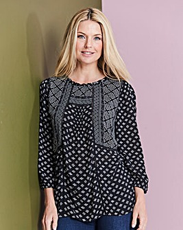 Mono Print Patchwork Crinkle Top