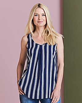 Navy Stripe Pleat Vest
