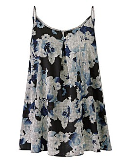 Blue Print Pleat Camisole