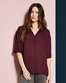 Dark Purple Dipped Side Utility Blouse