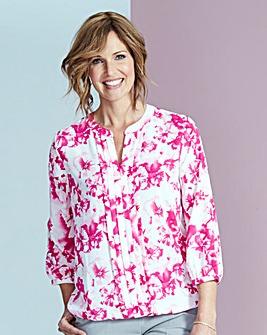 Pink Floral Pleat Detail Blouse