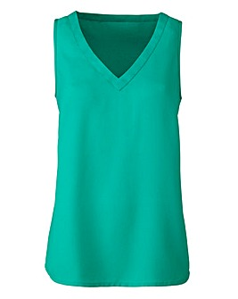 Green V-Neck Woven Vest