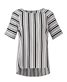 Stripe Raglan Sleeve Shell Top
