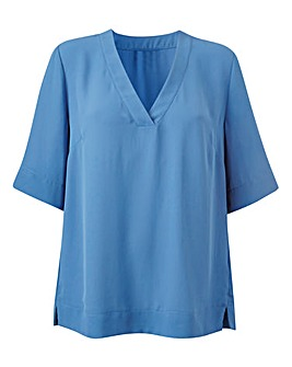 Blue V-Neck Split Side Top