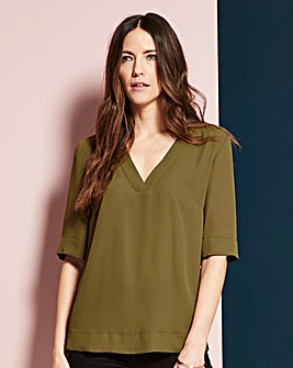 Olive V-Neck Split Side Top