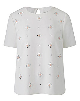 EMBELLISHED FRONT SHELL TOP
