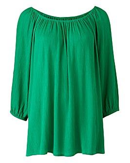Green Cold Shoulder Gypsy Top