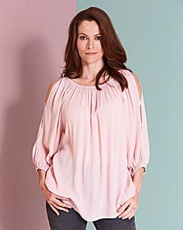 Pink Cold Shoulder Gypsy Top