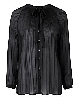 Black Pleat Pussybow Blouse