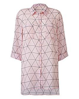 Pink Print Longline Blouse