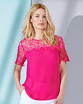 Hot Pink Crochet Lace Shell Top