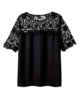 Black Crochet Lace Shell Top