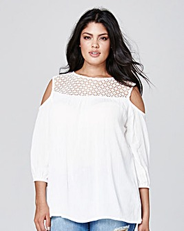 Ivory Crochet Cold Shoulder Blouse