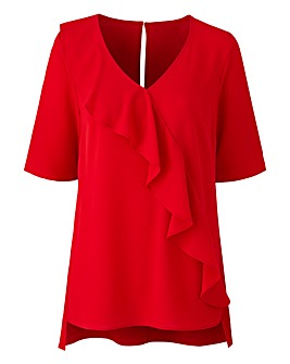 Red Ruffle V Neck Blouse