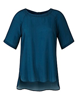 Teal Raglan Sleeve Shell Top