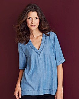 Denim V-Neck Split Side Top
