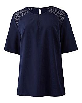 Navy Crochet Shoulder Blouse