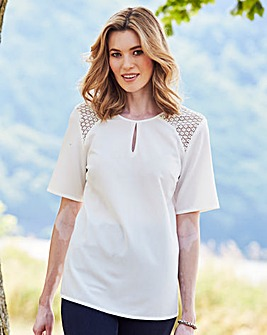 Ivory Crochet Shoulder Blouse