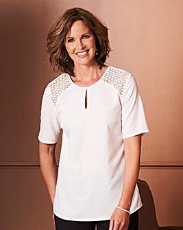 Ivory Crochet Shoulder Blouse