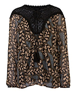 Brown Print Tie Neck Gypsy Blouse