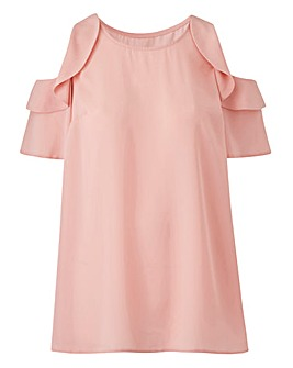 Blush Ruffle Cold Shoulder Blouse