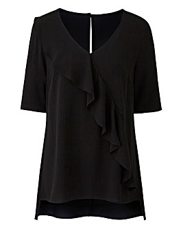 Black Ruffle V Neck Blouse