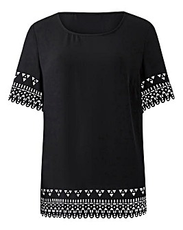 Black Laser Cut Shell Top