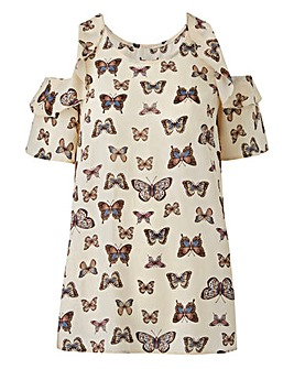 Butterfly Ruffle Cold Shoulder Blouse