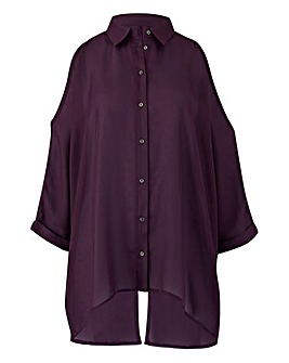 Purple Split Back Cold Shoulder