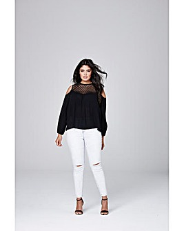 Black Crochet Cold Shoulder Blouse