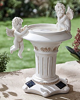 Solar Cherub Bird Bath