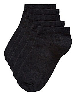 5 Pack Black Basic Trainer Socks