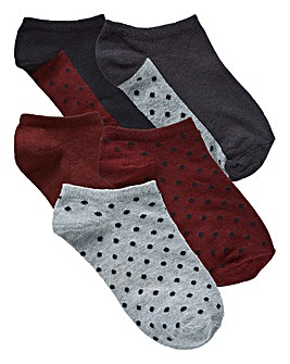5 Pack Berry/Black Trainer Socks