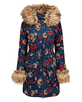 Joe Browns Funky Fur Trim Floral Parka