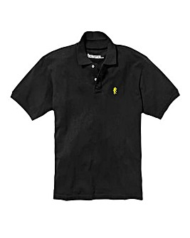 Jacamo Black Embroidered Polo Long