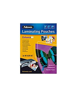 Fellowes A4 80mic Laminating Pouches