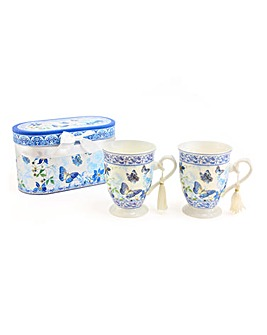 Butterfly Garden Set of 2 Gift Boxed Mug