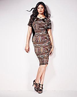 Anna Scholz Print Mesh Trim Dress