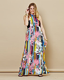 Grazia Print Halter Neck Maxi Dress