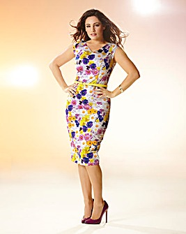 Kelly Brook Print Belted Dress
