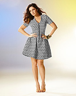 Kelly Brook Zip Front Jacquard Dress