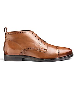 Leather Brogue Boots Extra Wide Fit