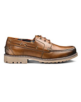 Leather Cleated Boat Shoes Ex Wide Fit