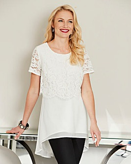 Joanna Hope Lace Trim Hanky Hem Tunic