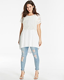Joanna Hope Lace Trim Shaped Hem Tunic
